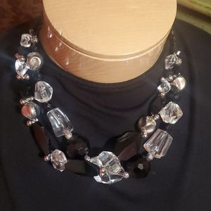 Chunky Black Sliver and Clear Necklace
